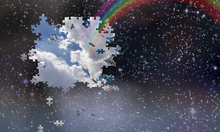 jig saw puzzle: Puzzle pieces fall from night sky revealing day with rainbow Stock Photo