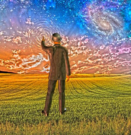 スーツを着た男に触れる空の波紋を作成します。