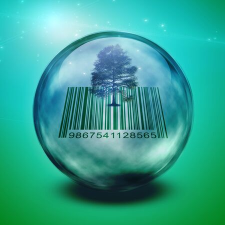 Barcode tree enclosed in glass photo
