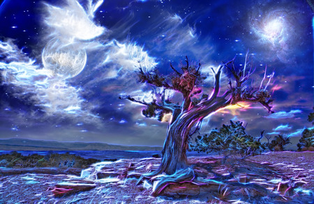luna: Desert Tree at night digital abstraction
