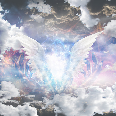 Angel wings pull apart seam of mortals to reveal workings Stock Photo - 38948529