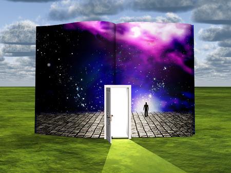 Prenota con scena di fantascienza e porta aperta della luce