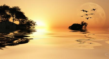 Azië Sunrise Stockfoto