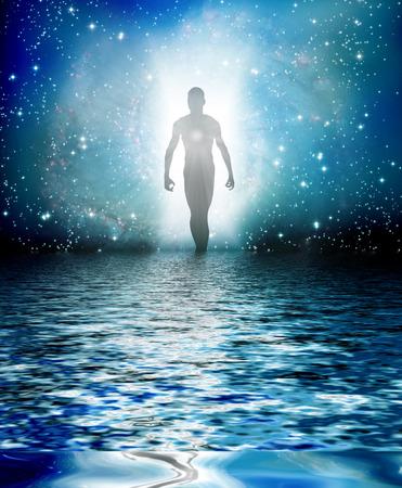 Menschliche Figur ergibt sich aus Licht Standard-Bild