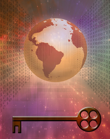 Earth Binary Code and Key Stock Photo