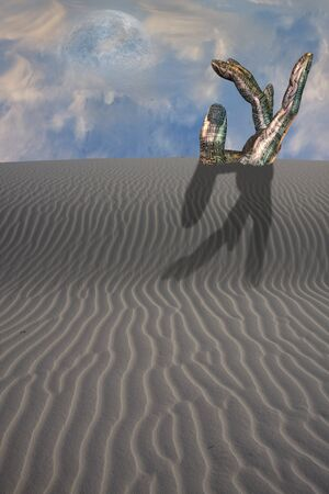desolate: Desert with pointing statue Stock Photo