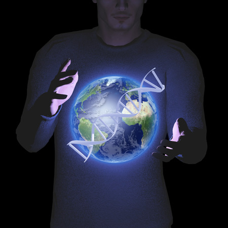 Man with earth and DNA strand photo