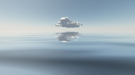 Single Cloud Flaots Above Still Water