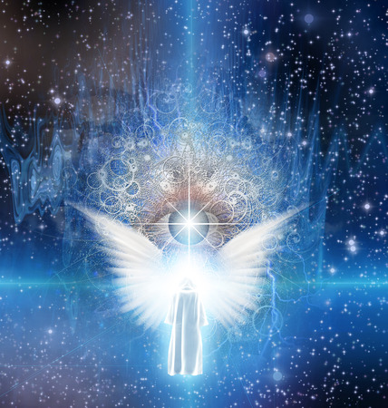 Spiritual sci fi scene with angel and cloaked figure