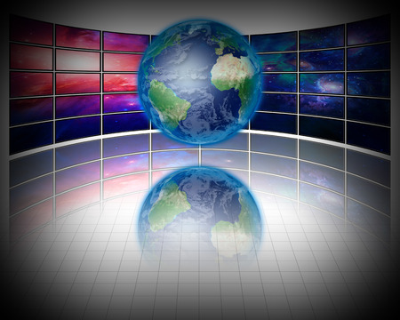 lcd tv: Video Screens with Earth Stock Photo