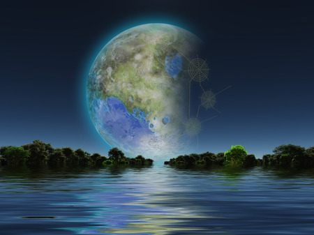 fantasy world: Terraformed Moon seen from Earth Stock Photo