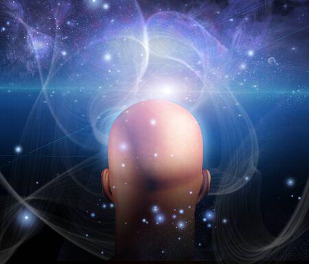 percepción: Luces y líneas de remolino alrededor de la cabeza Mans