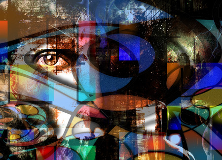 primitivism: Eye Peers out from Abstract Stock Photo