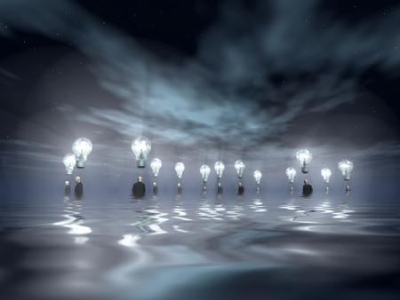 man underwater: Flooding Men with Ideas Stock Photo