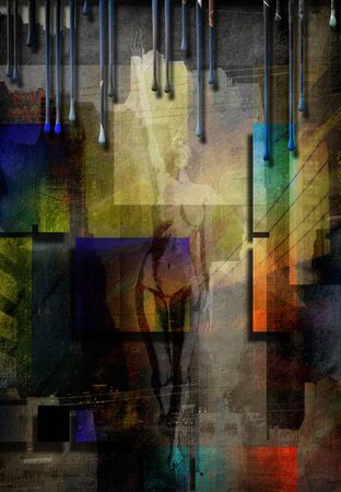 nude female: City Abstract with nude