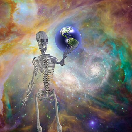 Skelton holds earth  before deep space