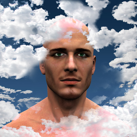 free thinking: Man with Head in clouds