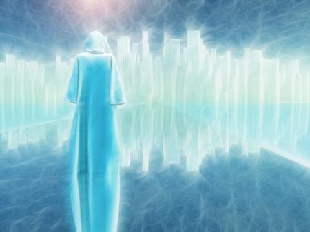 traveler: White robed traveler journeys to holy city