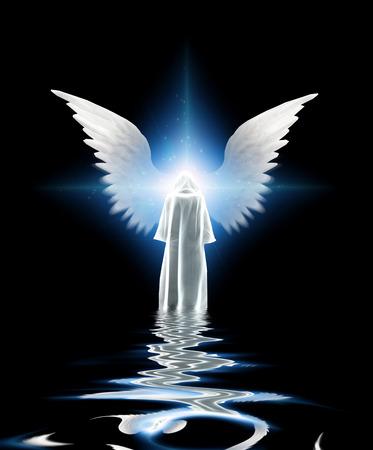 Bianco vestita figura e le ali