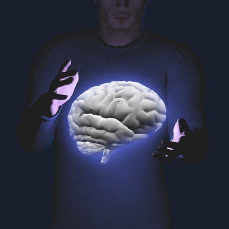 him: Man hovers brain before him Stock Photo