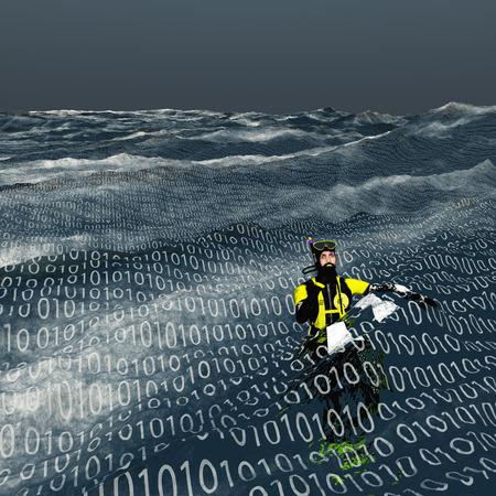 jezior: Nurek pływa na powierzchni morza binarnego komputera i Internetu koncepcji Zdjęcie Seryjne
