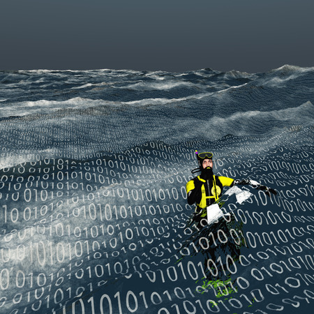 Diver floats at surface of binary sea Computer and internet concept Standard-Bild