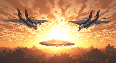 military invasion: Military Jets Pursue UFO Stock Photo