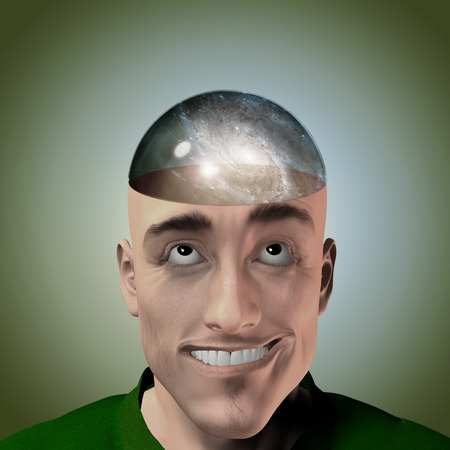 mans: Mans head with galaxy therein