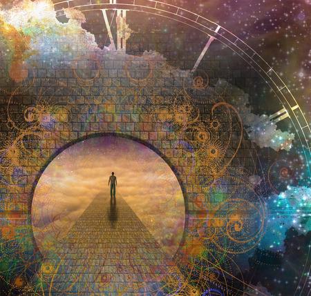 heaven: El hombre en el camino y la puerta con el reloj de edad