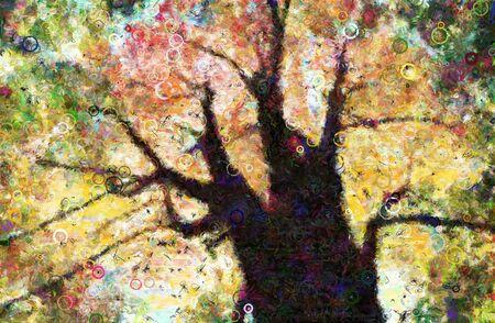 naranja arbol: Otoño los árboles del dosel pintura compuesta de formas circulares Foto de archivo