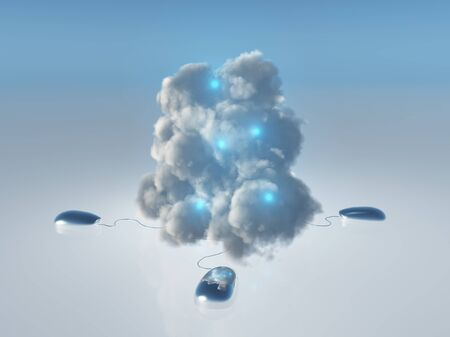 leading: Cloud Computing Concept with Multiple Computer Mice and Cords leading into 3D Rendered Cloud Stock Photo