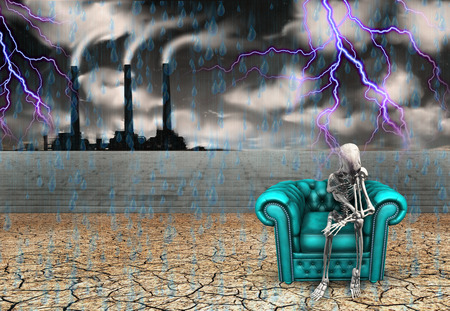 dystopia: Human skeleton with factory and pouring rain