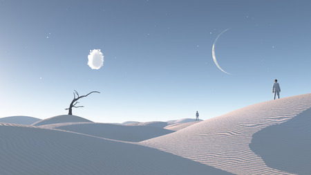 moon  desert: Man in desert with bare tree and moon Surreal Haunting Desert Stock Photo
