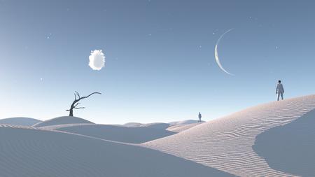 Mens in woestijn met kale boom en de maan Surreal Haunting Desert Stockfoto