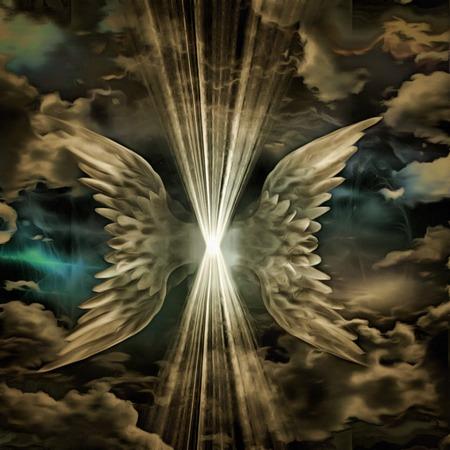 gevleugeld wezen van licht in de wolken