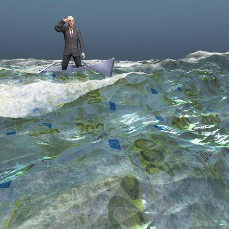 �ber Wasser: Man flott in winzigen Boot auf Euro-W�hrung Meer unter dunklem Himmel