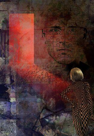 Abstrait avec femme et mans visage Banque d'images - 43588945