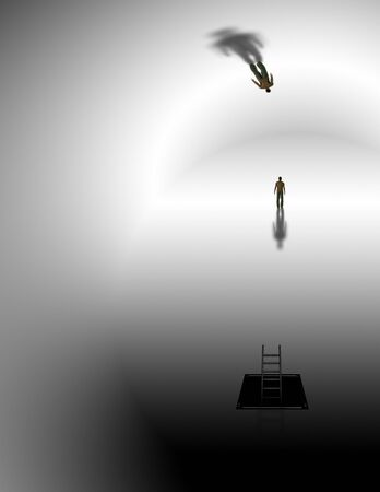 surreal: Man in surreal white space Stock Photo