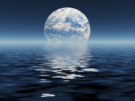 Blue planet seen in distance Stock Photo