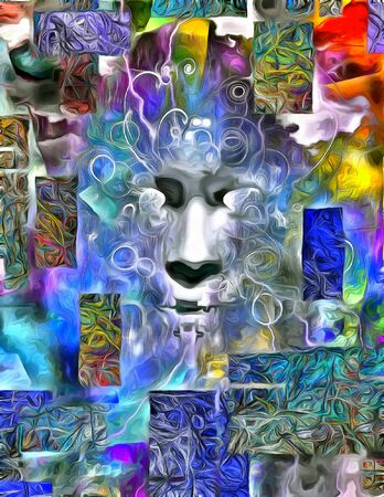 Human Face Abstract Dimensional Painting Stock Photo