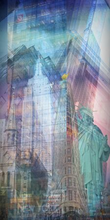 high rise buildings: Statue of liberty and NYC