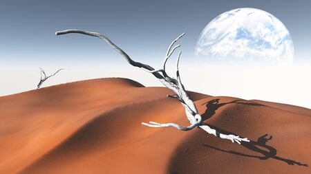 moon  desert: Red  Sand  Desert with Terraformed Moon or earth from terraformed moon or exoplanet
