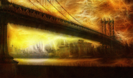 suspension bridge: Manhattan Bridge Painterly Landscape Stock Photo