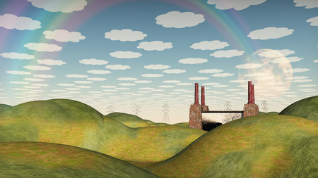 bucolic: Bucolic Landscape with Factory