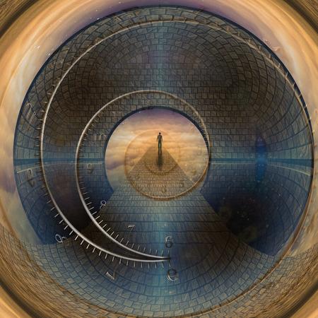 путешествие: Человек путешествия через дверной проем времени Фото со стока