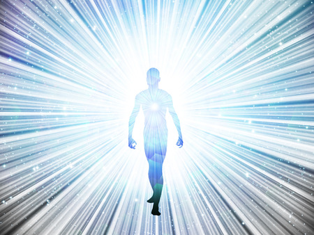 Figure emerges from light