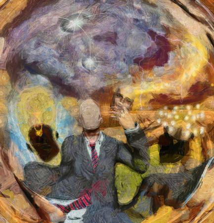 hombre pintando: Surrealista Resumen simbólica de la cara del hombre y la eliminación de gran ey la observación y el hombre con bombillas idea