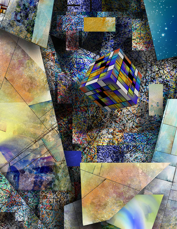 abstractions: Block hovers in abstract art Stock Photo