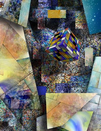 geometria: Bloquear cierne en el arte abstracto Foto de archivo