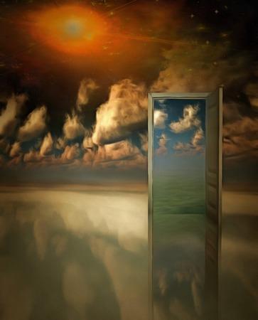 doorway: Open doorway in surreal space